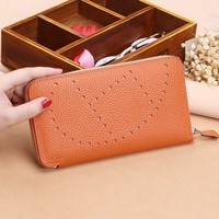 2019 Popular Litchi pattern womens wallets and purses 100%Genuine leather Long ladies wallet Money Bags clutch Coin Card Holder