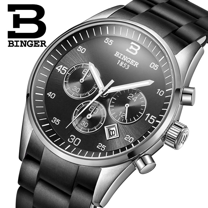 BINGER Chronograph 6 Hands 24 Hours Function Men Sport Watch Silicone Luxury Watches Men Top Brand Relogio Masculino B1101G