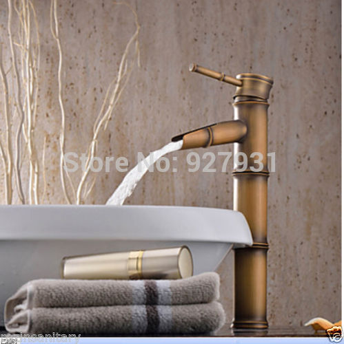 Wholesale Retail Antique Brass Bamboo Shape Bathroom Basin Faucet Deck Mount Waterfall Basin Vessel Sink Faucet