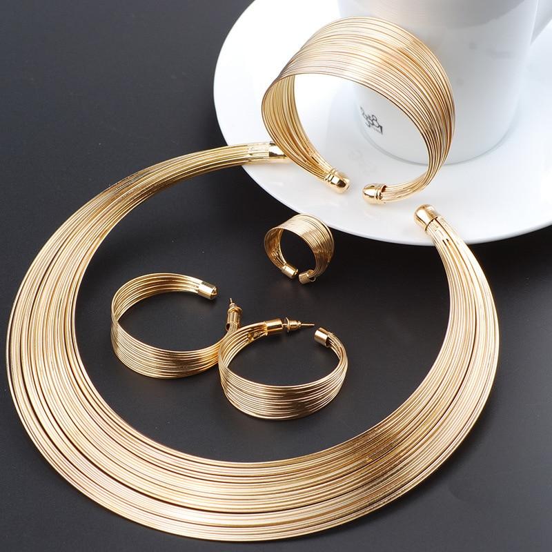 Moda dubai conjuntos de jóias de ouro exagerada linha de ouro colar conjunto de presente de casamento africano nigéria jóias para mulher