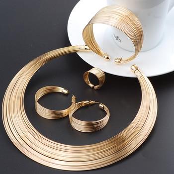 Moda Dubai conjuntos de joyas de oro exagerada línea de oro collar conjunto de regalo de boda africano Nigeria joyería para las mujeres