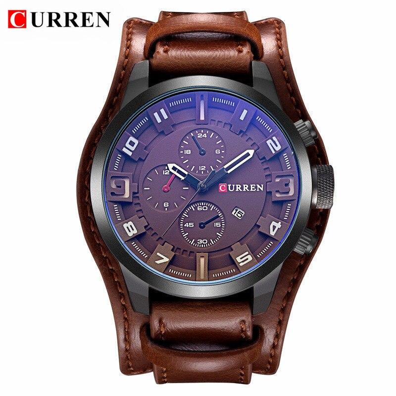 bfe7609006f Mens Relógios Top Marca de Luxo Relogio masculino Pulseira de Couro À Prova  D  Água Dos Homens Do Esporte Relógio Militar Masculino Relógio de Quartzo  ...