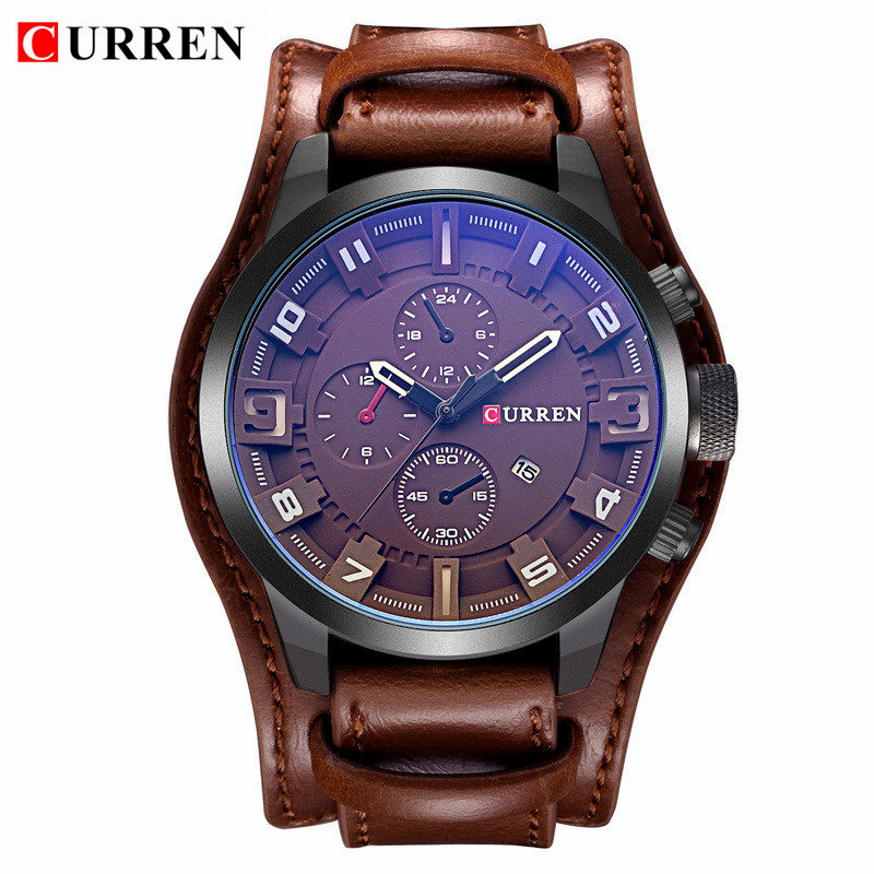 Reloj Masculino para hombre relojes de lujo de marca superior, correa de cuero resistente al agua para hombre, reloj de cuarzo, reloj militar, Curren 8225