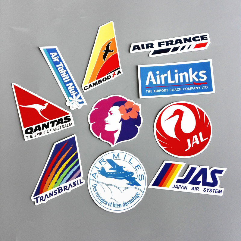 10Pcs Airline Logo Pvc Decal Sticker Fashion Trunk Luggage Carrier Laptop Brand Handbag Waterproof Stickers Toys