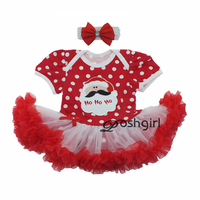 Christmas Baby Girl Dresses 2017 Santa Bow Hair Accessories Set Girls Props Clothes Infant Princess Toddler
