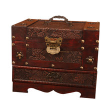 Antique Europe Old Dressing Box Wooden with Lock Big Jewelry Box Ornament Simple Jewelry Storage Boxes with Mirror Wedding Gifts(China)