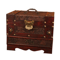 Antique Europe Old Dressing Box Wooden with Lock Big Jewelry Box Ornament Simple Jewelry Storage Boxes with Mirror Wedding Gifts