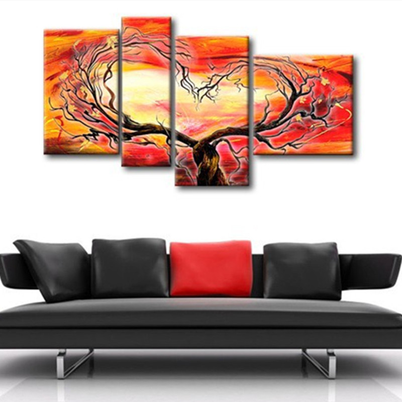 Modern Home Decor Wall Art Picture Handpainted Abstract Orange Tree Oil Painting Handmade Acrylic Paintings 4 Piece Canvas Arts