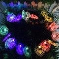 En Forma de corazón Colorido Led Luz de La Secuencia de 20 LED Hadas Luz de la Lámpara Al Aire Libre Jardín Patio Solar Powered Decoración Del Partido