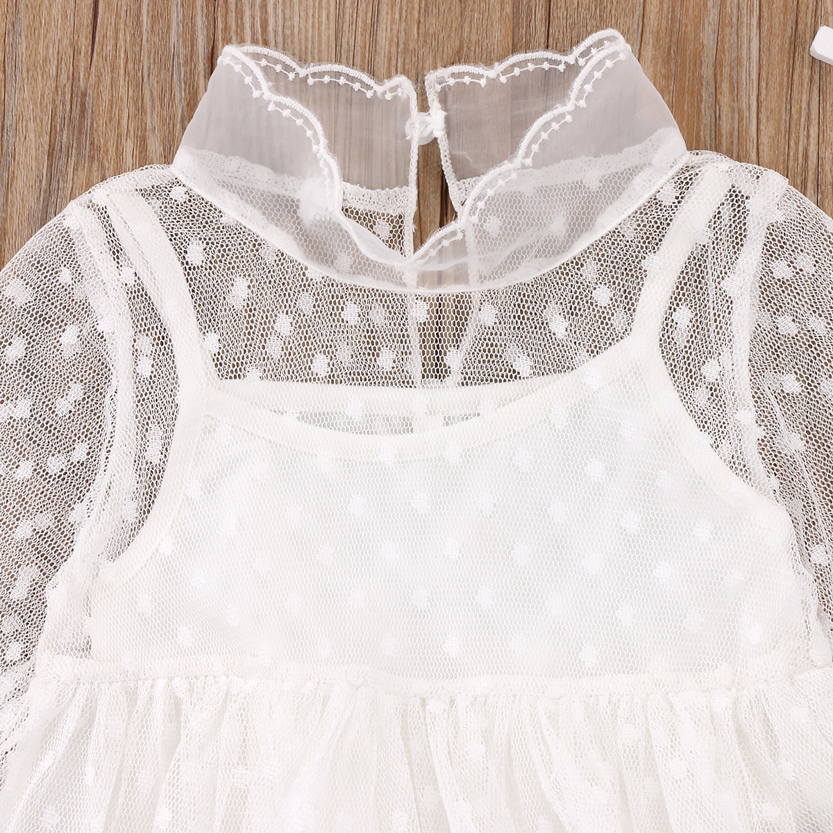 Aliexpress.com   Buy Fashion Kids Baby Girls Party Princess Wedding Lace  Tulle Dress Cute Children Dot Tiered Ball Gown Dresses Clothes Sundress 1 5Y  from ... 8ec6d07ace0a