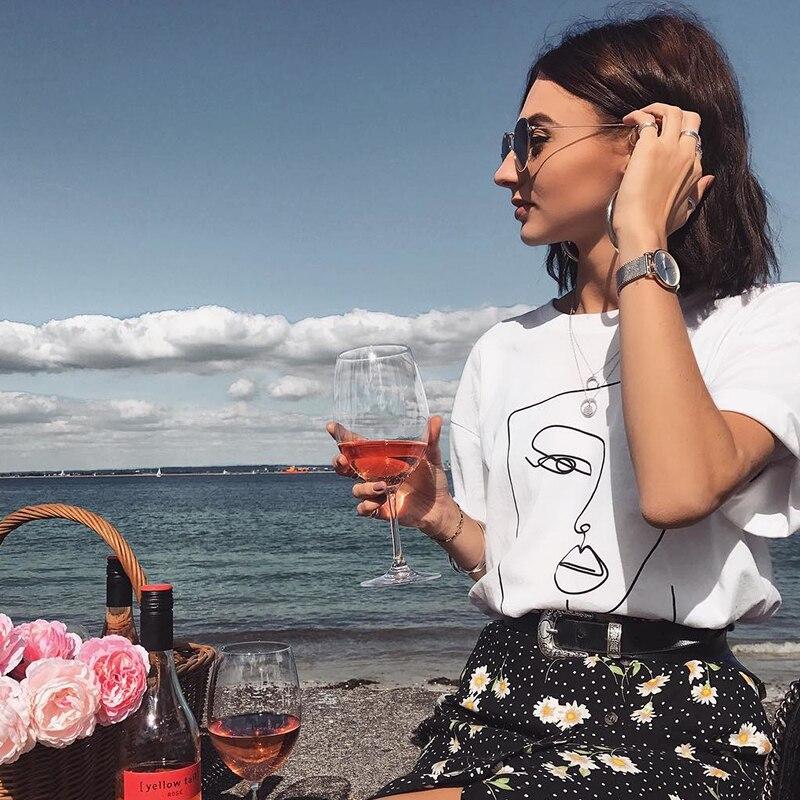 Twarz streszczenie prosta koszulka damska bawełna Casual Funny t shirt prezent dla pani Yong dziewczyna koszulka Drop Ship S-723 2