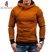 HEYKESON Brand 2017 Hoodie Oblique Zipper Solid Color Hoodies Men Fashion Tracksuit Male Sweatshirt Hoody Mens Purpose Tour XXL
