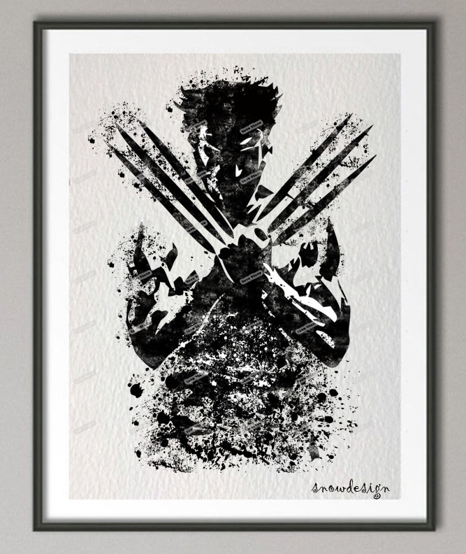 Buy original wolverine watercolor wall for Black and white mural prints