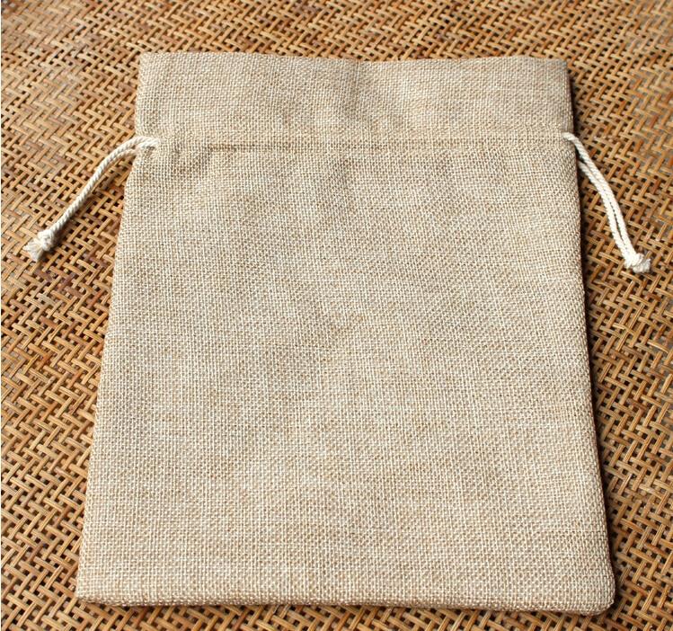 Pack 4 Natural Jute Wedding Favour Bags Heart Decoration Drawstring Tops 7x10cm