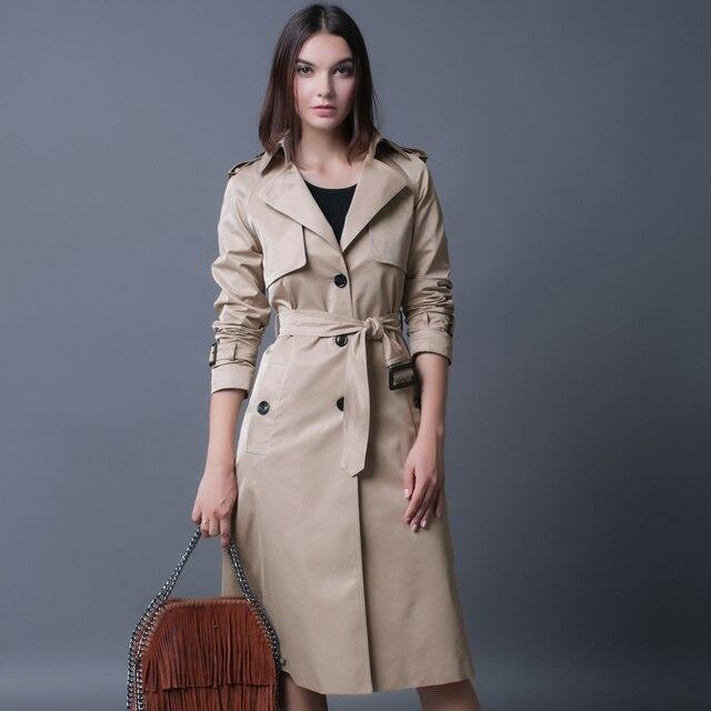 Плюс Размер S-4XL Однобортный Плащ Британский Дамы Свободные Экстра-длинный Бежевый Пальто Для Женщин Причинно Стильный Черный гороха Пальто