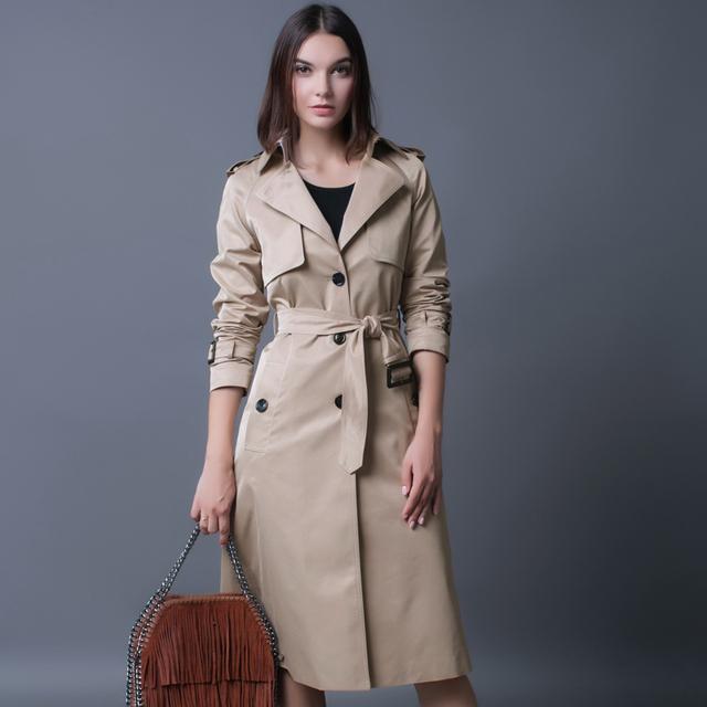 Plus Size S-4XL Único Breasted Trench Coat Britânico Ladies Solto Extra-longo Casaco Bege Para As Mulheres Causal Elegante Preto Casaco de ervilha
