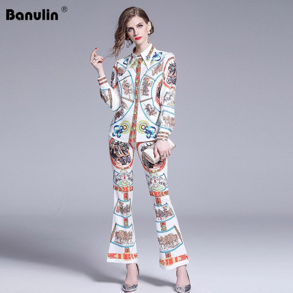 Banulin 2019 nouveau pantalon de créateur de mode 2 deux pièces ensemble Blouses imprimées à manches longues pour femmes + pantalons évasés Vintage ensembles costumes
