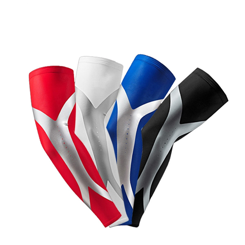 2 db / pár Lycra kosárlabda kompressziós kar hüvelyek csúszásmentes elasztikus karszalaggal UV védőtokok hüvely sportbiztonság Mangas Ciclismo