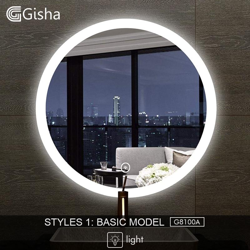 Bathroom Hardware Gisha Smart Mirror Led Bathroom Mirror Wall Bathroom Mirror Bathroom Toilet Anti-fog Mirror With Bluetooth Touch Screen G8100
