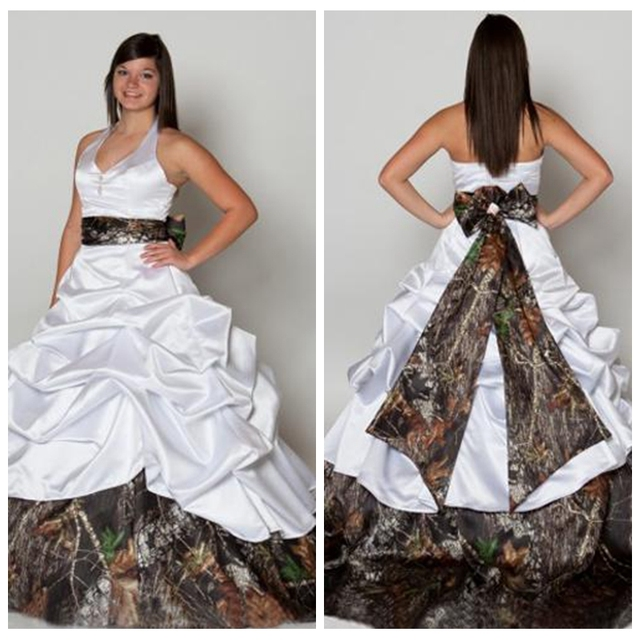 de15bc121b7 2019 Halter White Satin Draped Skirt Chapel Train Camo Wedding Dresses With  Bowknot Bridal Gowns Plus Size Wedding Dress