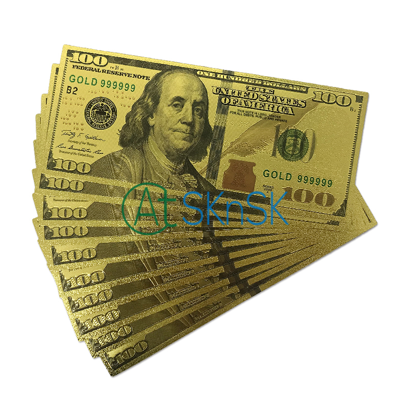 10pcs/lot New Collection US100 Dollar Gold Foil plated double design America Banknote Gold Foil plated Banknote/paper money