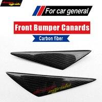 F30 Universal Front Bumper Splitter Carbon Fiber For F35 320i 325i 4Pcs Fin Air Knife Body Kits Car Spoiler Canards Car Styling
