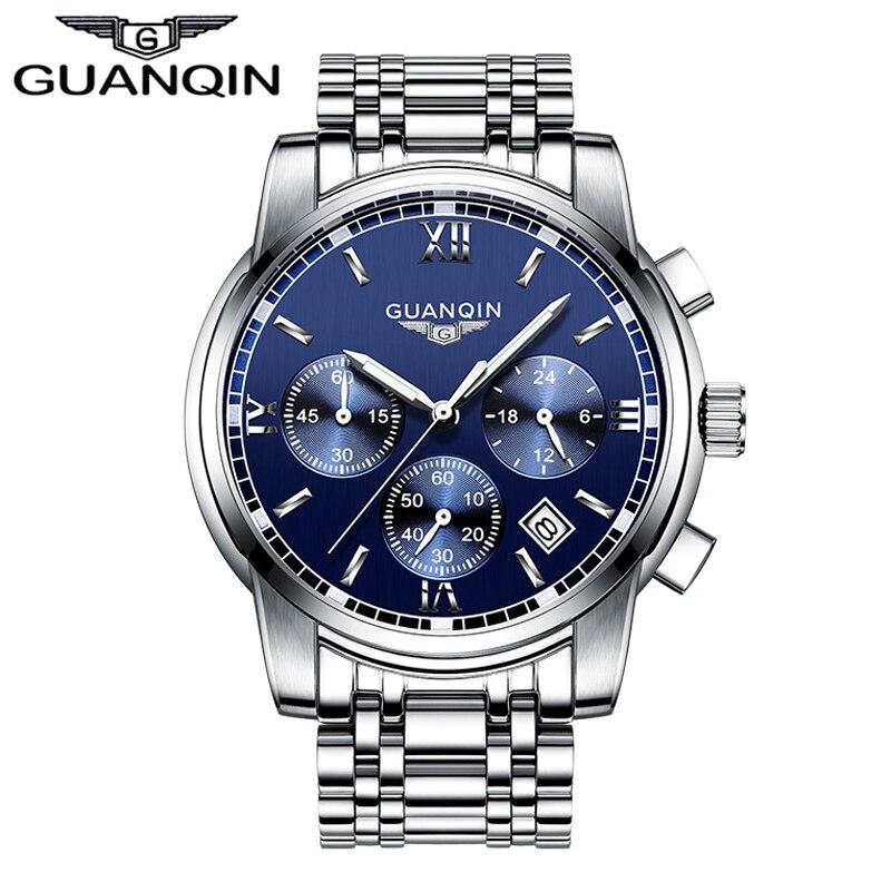 2016 мужские часы лучший бренд класса люкс GUANQIN три набора работы из нержавеющей стали Водонепроницаемый светящиеся мужские часы кварцевые ч...