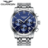 2016 Mens Watches Top Brand Luxury GUANQIN Three Dial Work Stainless Steel Waterproof Luminous Men S