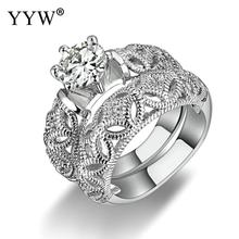 Princess Style Cubic Zirconia Hollow-out Silver Color Ring Sets for Women, Mens 8mm Classic Stainless Steel Wedding Ring punk style pure color hollow out ring for women