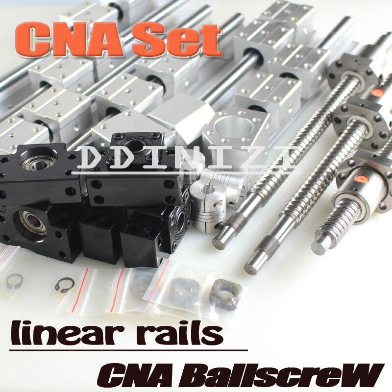 6Se guía lineal Rail 3 bolas tornillos 1605 BK12 BF12 + 3 acoplamientos