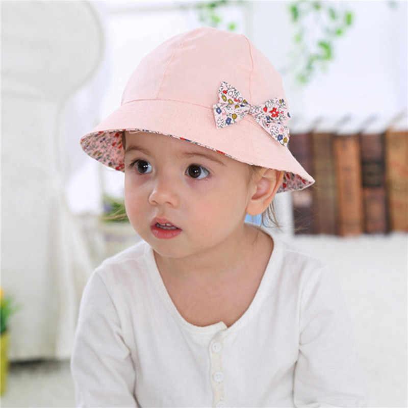 2934cdd6 ... 2018 Hot Flower Printed Cotton Baby Summer Hat Kids Girls Cute Bow Knot  Cap Sun Bucket ...