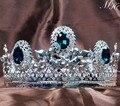 Impresionante Azul Hombres de Cristal Corona Tiara Completo Redondo Imperial Medieval Austriaco Rhinestone Del Desfile de Novia de La Boda Trajes de Fiesta