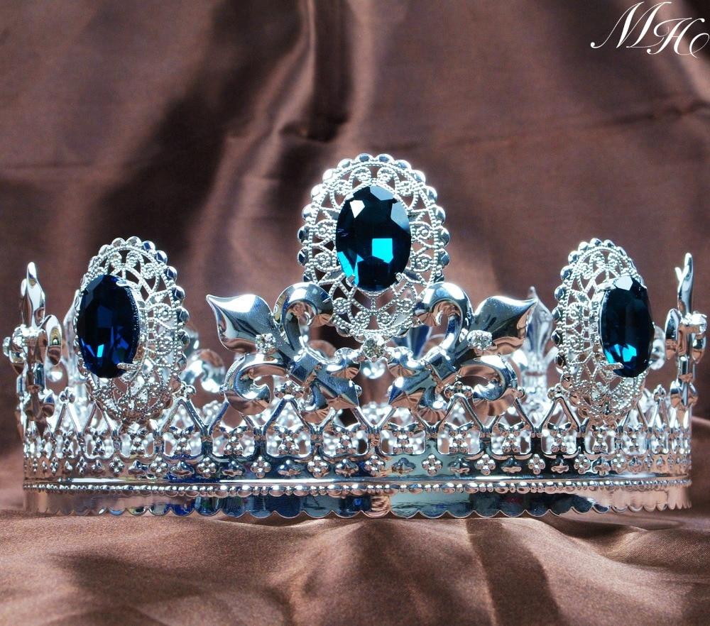 Crowns full circle round tiaras rhinestones crystal wedding bridal - Men Blue Crystal Crown Full Round Tiara 3 5 Imperial Medieval Austrian Rhinestone Headpiece Prom Pageant