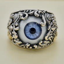Imported from Thailand, GV prosthetic eye blue iris pattern male punk silver ring, 925 Sterling Silver thailand imports genuine gv new moon key pendant
