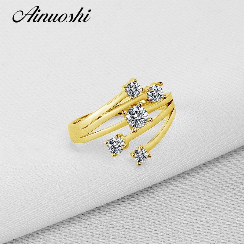 AINUOSHI 14 K solide or jaune étoile fleur anneau conception spéciale SONA simulé diamant mariage fiançailles grappe anneau femmes cadeau - 3