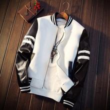 79ccb853df7 2019 Spring Men Jacket Splicing PU Sleeve Coat Casual Baseball Collar Short  Jackets Brand Coat Mens