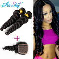 100 Human Hair and closures 2 Bundles with closure Loose Weave Brazilian Virgin Hair Bundles with Lace Closures  Brazilian Hair