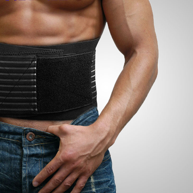 Durable Black Waist Support Brace Belt Lumbar Lower Waist Double Adjustable Back Belt For Pain Relief Gym Sports Accessories