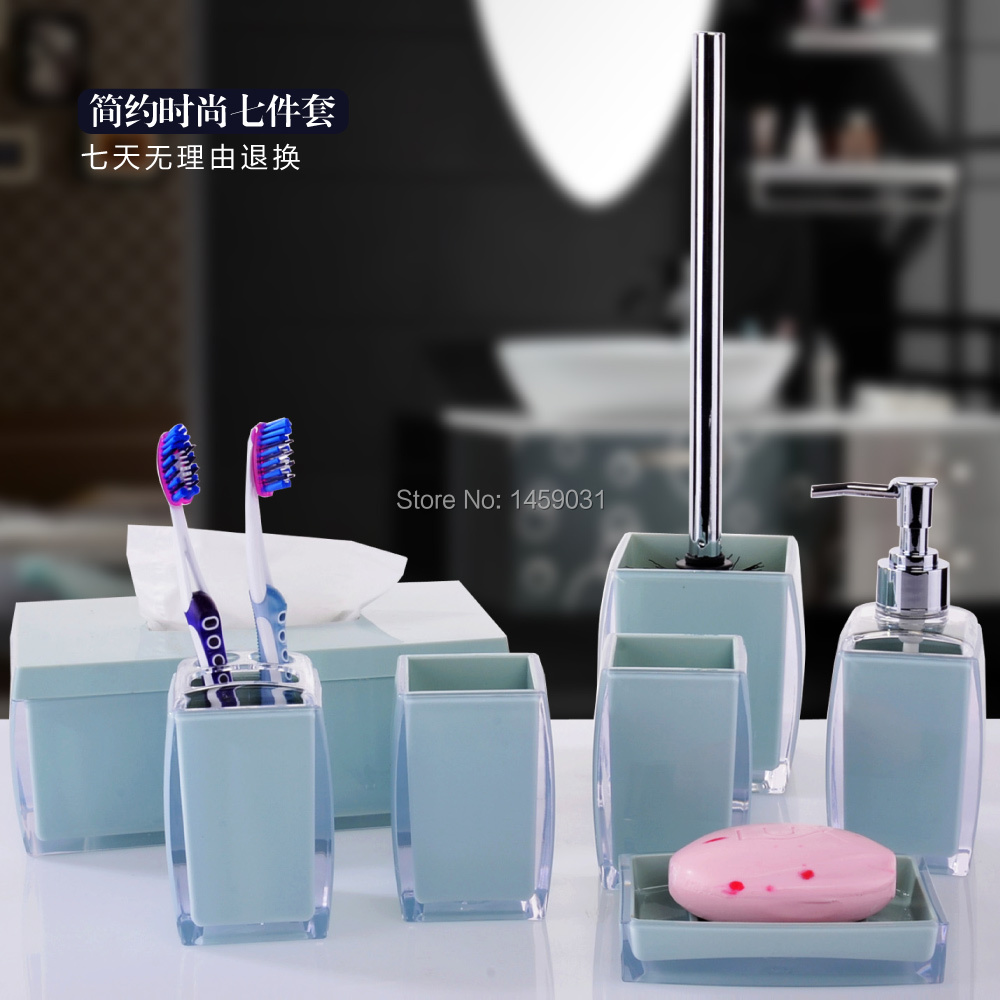 Fashion brief acrylic bathroom accessories 7pcs set bath for Bathroom accessories acrylic