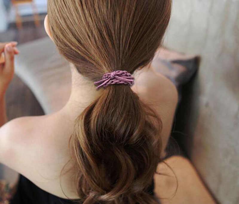 5 шт., женские Однотонные эластичные резинки для волос с цветами, конский хвост, резинки для волос с бусинами, резинка для волос, повязка на голову, женские аксессуары для волос