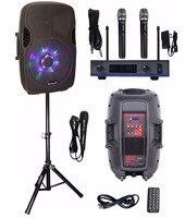 STARAUDIO 15 2500W Powered PA DJ Active Karaoke Bluetooth Speaker W LED RGB Light Stand Wireless
