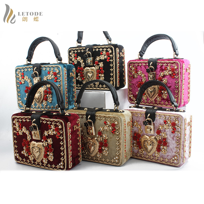 Designer Pink Metal Flowers Beaded Women Totes Bags Evening Party Day Clutches Box Clutch Wedding Dinner
