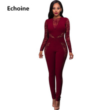 Echoine Sexy Lace Patchwork Jumpsuit Autumn Long Sleeve Women Rompers Black Elegant Club Outfits Slim Bodycon overalls Blue 2019
