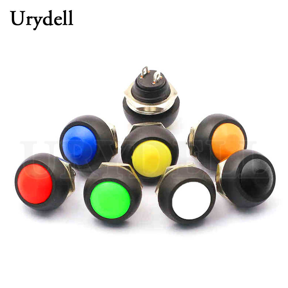 1pcs Rosso/Verde/Bianco/Nero/Blu/Giallo/Arancio ON-OFF 12 millimetri impermeabile Momentaneo Push button Switch SPDT