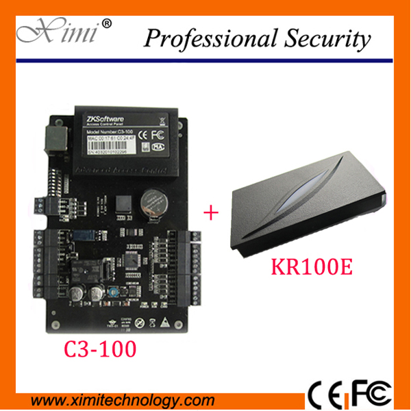 Access Control Systems contains Good quality ZK C3-100 One door Two Ways Access Control Panel+1 PCS KR100E RFID Reader