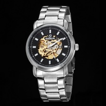 GOER brand Fashion male wrist watch Luminous digital Skeleto Stainless Steel sports men s watches Machinery