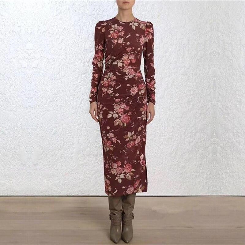 Haute qualité piste Designer élégant Vintage femme robe imprimé Floral taille mince femme longue robe Resort vacances fête robes-in Robes from Mode Femme et Accessoires    1