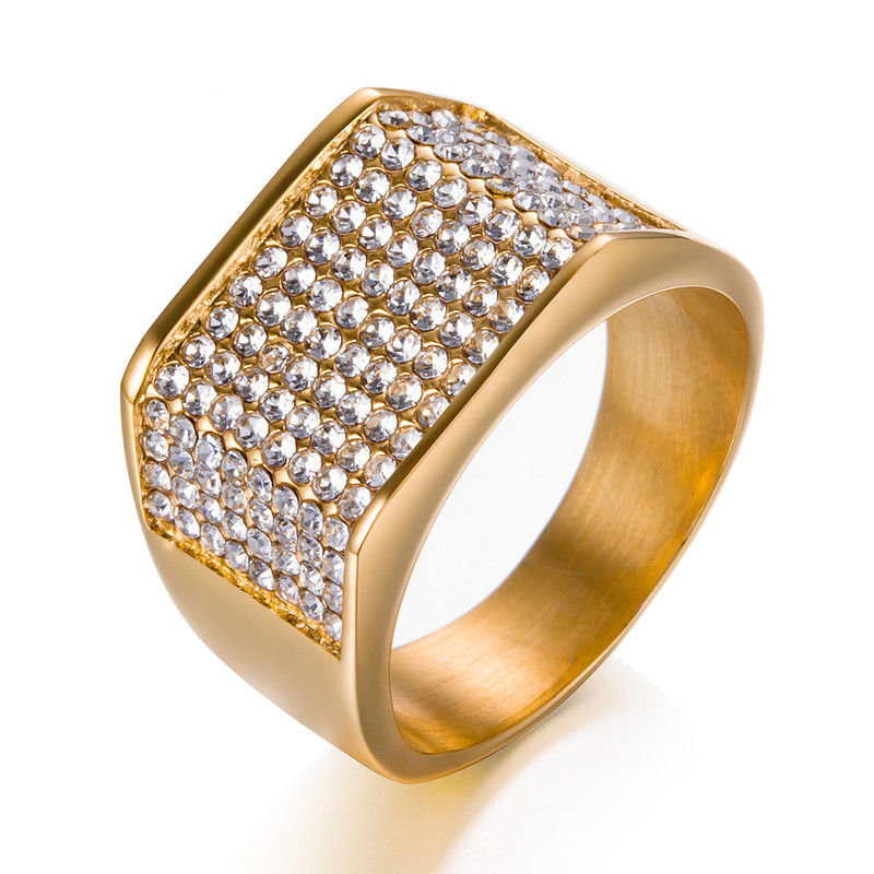 2019 Mode Mode Männer Edelstahl Engagement Ringe Hip Hop Iced Out Bling Bling Voller Strass Kristall Quadrat Ring Für Männer Anillos