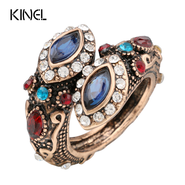 Kinel Unique Crystal Ring Color Ancient Gold Vintage Look Double Head Blue Rings