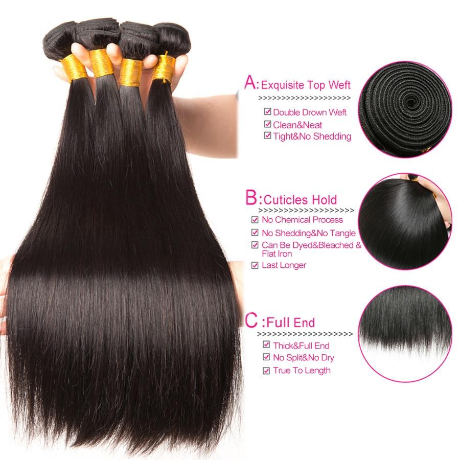 Beyo Straight Hair Bundles 100% Human Hair Bundles Non-Remy - Mänskligt hår (svart) - Foto 2
